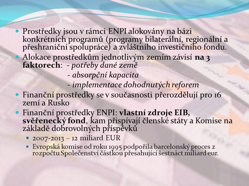 Prostředky jsou v rámci ENPI alokovány na bázi konkrétních programů (programy bilaterální, regionální a přeshraniční spolupráce) a zvláštního investičního fondu.