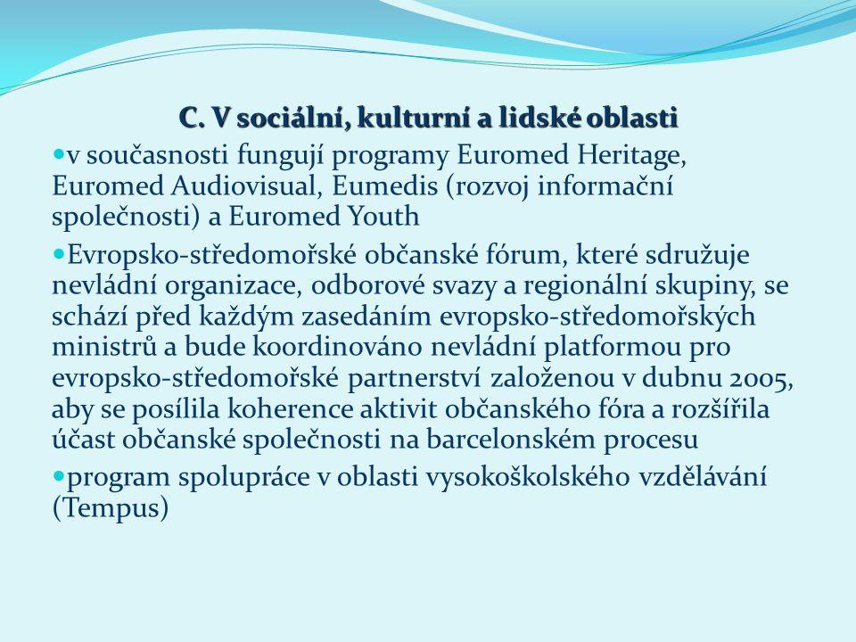 C. V sociální, kulturní a lidské oblasti v současnosti fungují programy Euromed Heritage, Euromed Audiovisual, Eumedis (rozvoj informační společnosti)