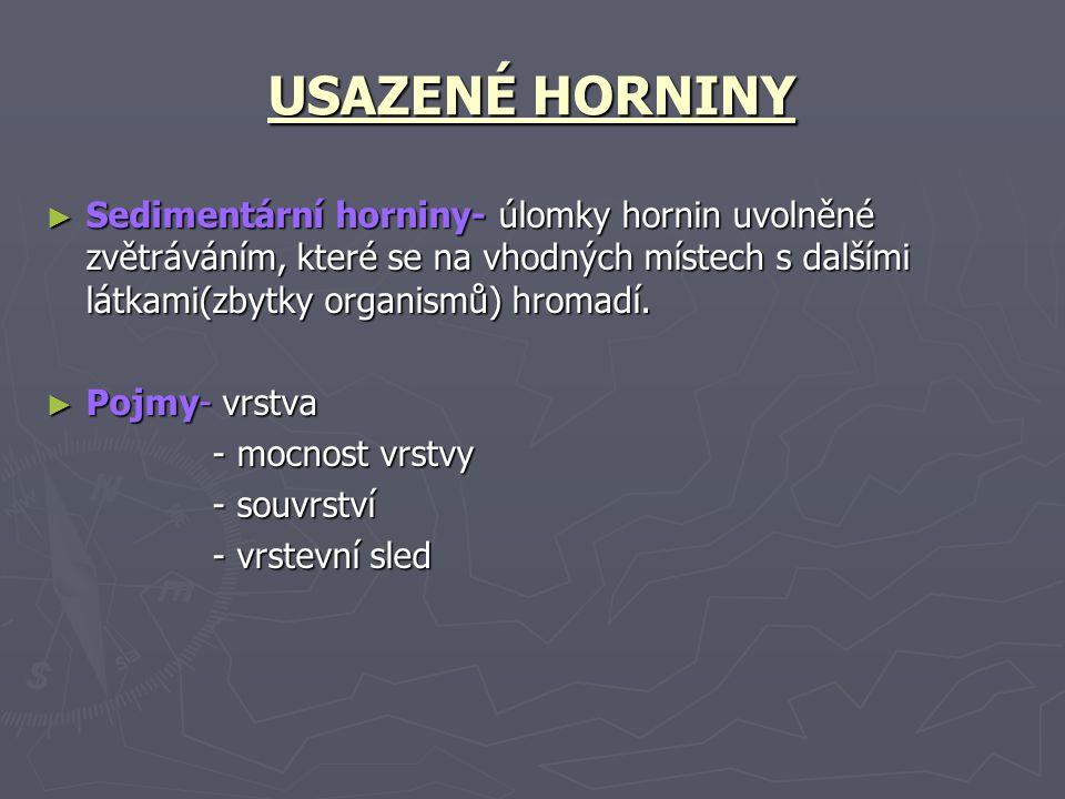USAZENÉ HORNINY ► Sedimentární horniny- úlomky hornin uvolněné zvětráváním, které se na vhodných místech s dalšími látkami(zbytky organismů) hromadí.