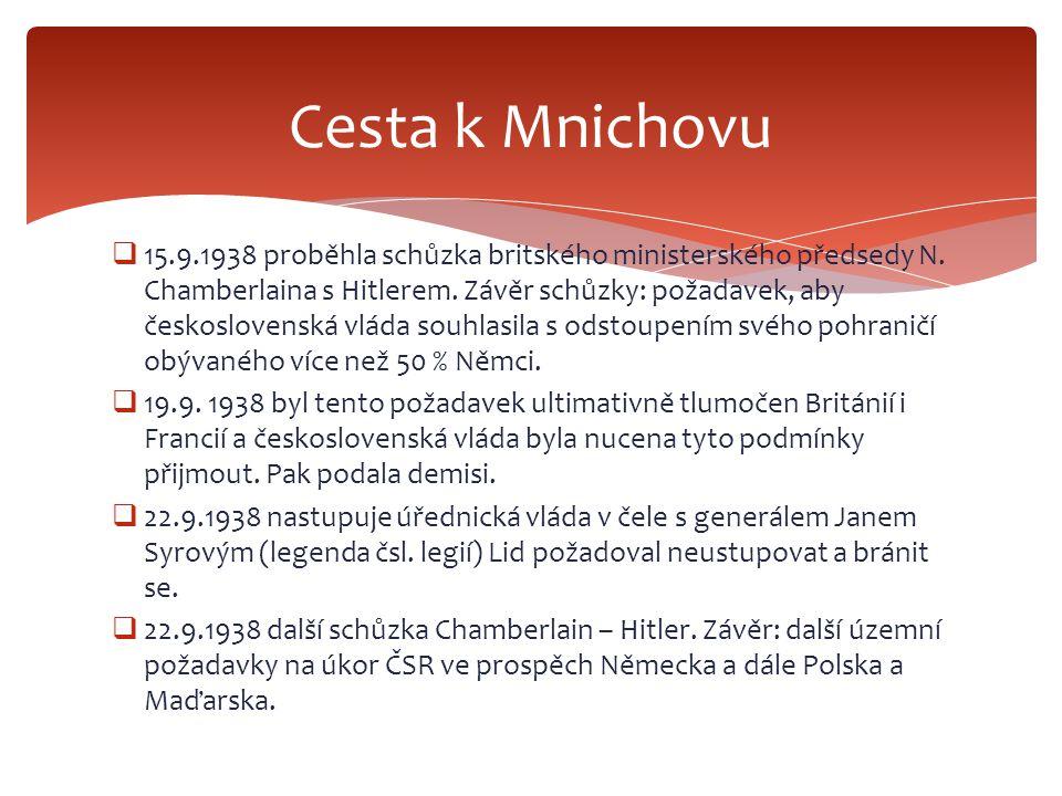  15.9.1938 proběhla schůzka britského ministerského předsedy N. Chamberlaina s Hitlerem. Závěr schůzky: požadavek, aby československá vláda souhlasil