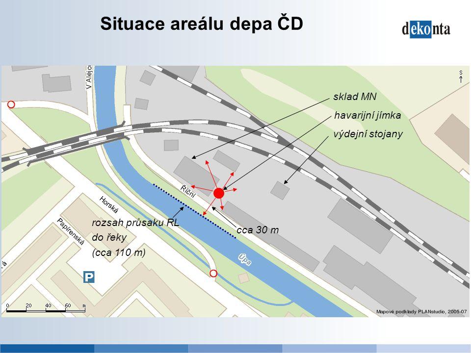 Situace areálu depa ČD cca 30 m sklad MN výdejní stojany havarijní jímka rozsah průsaku RL do řeky (cca 110 m)