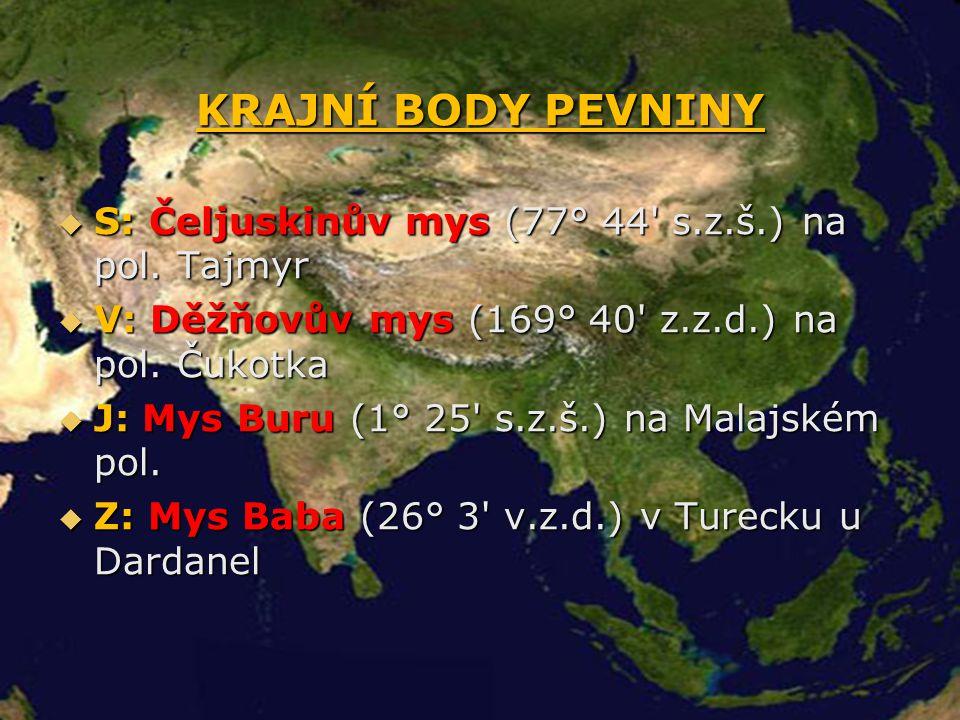 KRAJNÍ BODY PEVNINY  S: Čeljuskinův mys (77° 44' s.z.š.) na pol. Tajmyr  V: Děžňovův mys (169° 40' z.z.d.) na pol. Čukotka  J: Mys Buru (1° 25' s.z