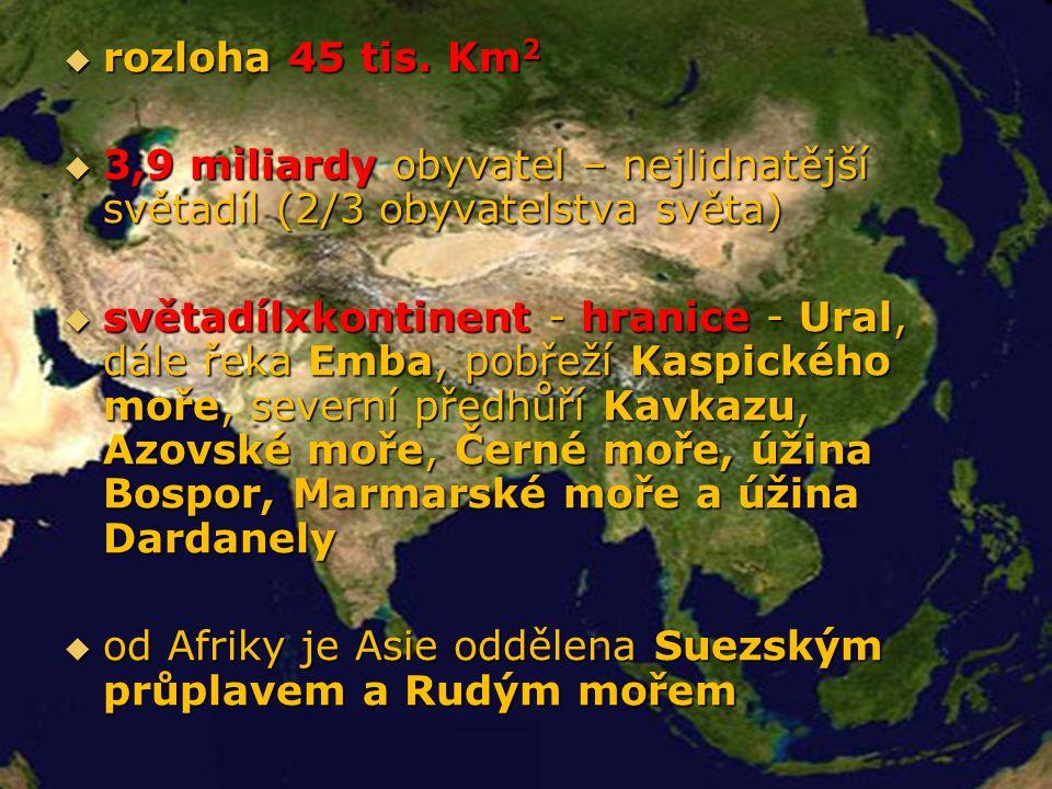  rozloha 45 tis. Km 2  3,9 miliardy obyvatel – nejlidnatější světadíl (2/3 obyvatelstva světa)  světadílxkontinent - hranice - Ural, dále řeka Emba