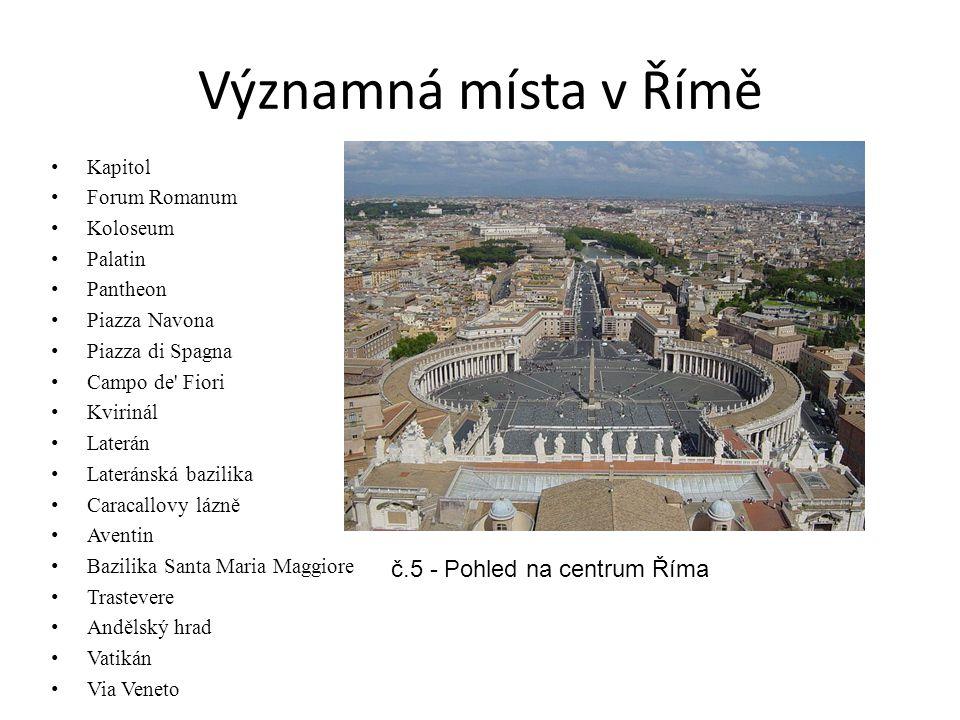 Významná místa v Římě Kapitol Forum Romanum Koloseum Palatin Pantheon Piazza Navona Piazza di Spagna Campo de' Fiori Kvirinál Laterán Lateránská bazil