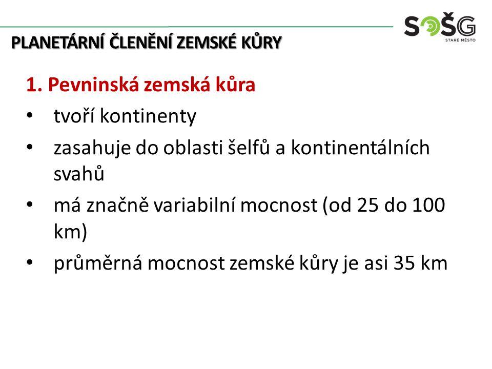 PLANETÁRNÍ ČLENĚNÍ ZEMSKÉ KŮRY 1.