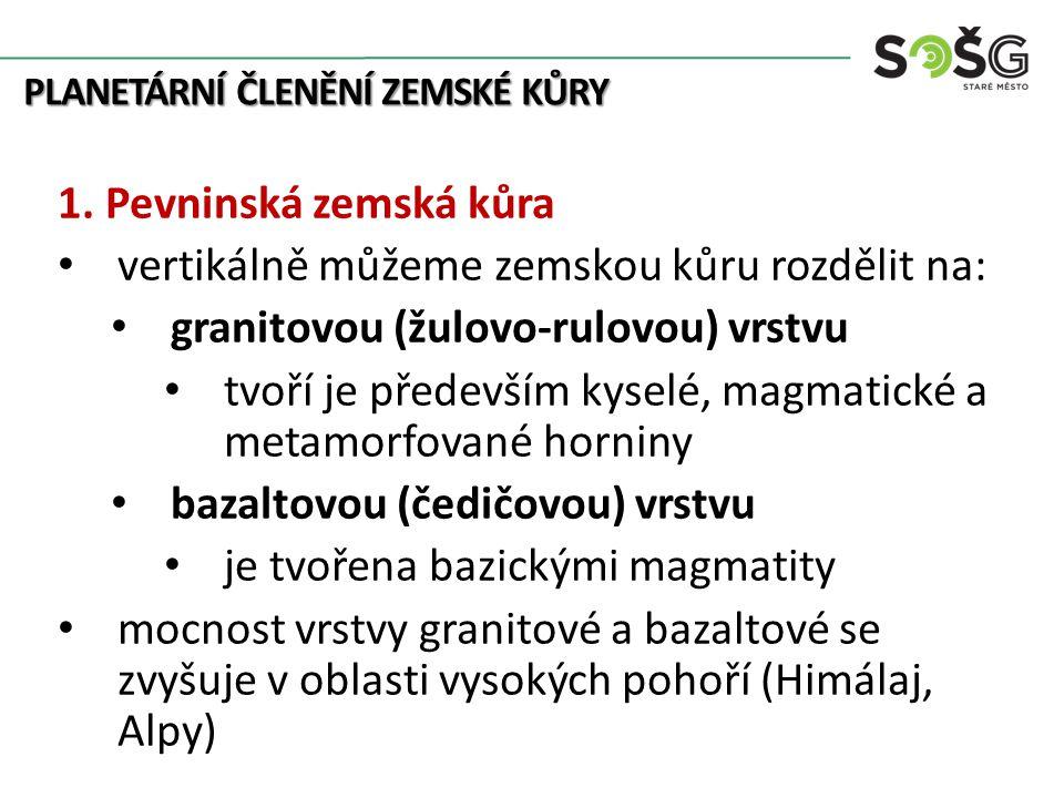 PLANETÁRNÍ ČLENĚNÍ ZEMSKÉ KŮRY 2.