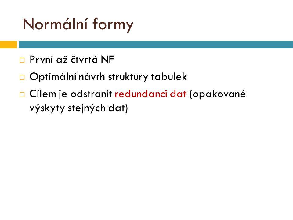 Normální formy  První až čtvrtá NF  Optimální návrh struktury tabulek  Cílem je odstranit redundanci dat (opakované výskyty stejných dat)