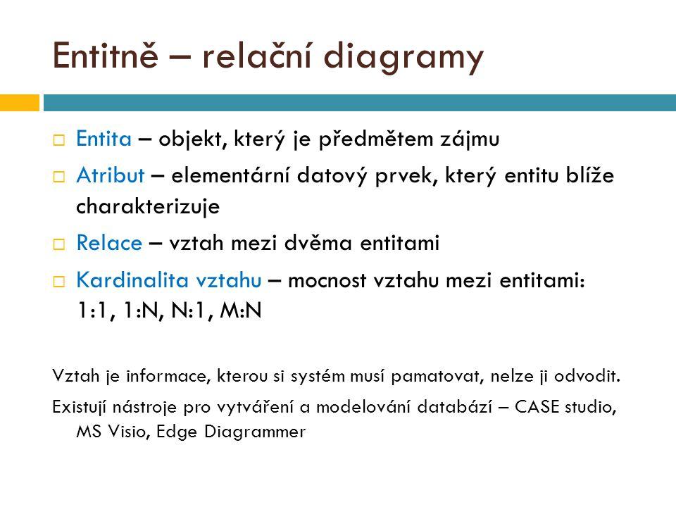 Entitně – relační diagramy  Entita – objekt, který je předmětem zájmu  Atribut – elementární datový prvek, který entitu blíže charakterizuje  Relace – vztah mezi dvěma entitami  Kardinalita vztahu – mocnost vztahu mezi entitami: 1:1, 1:N, N:1, M:N Vztah je informace, kterou si systém musí pamatovat, nelze ji odvodit.