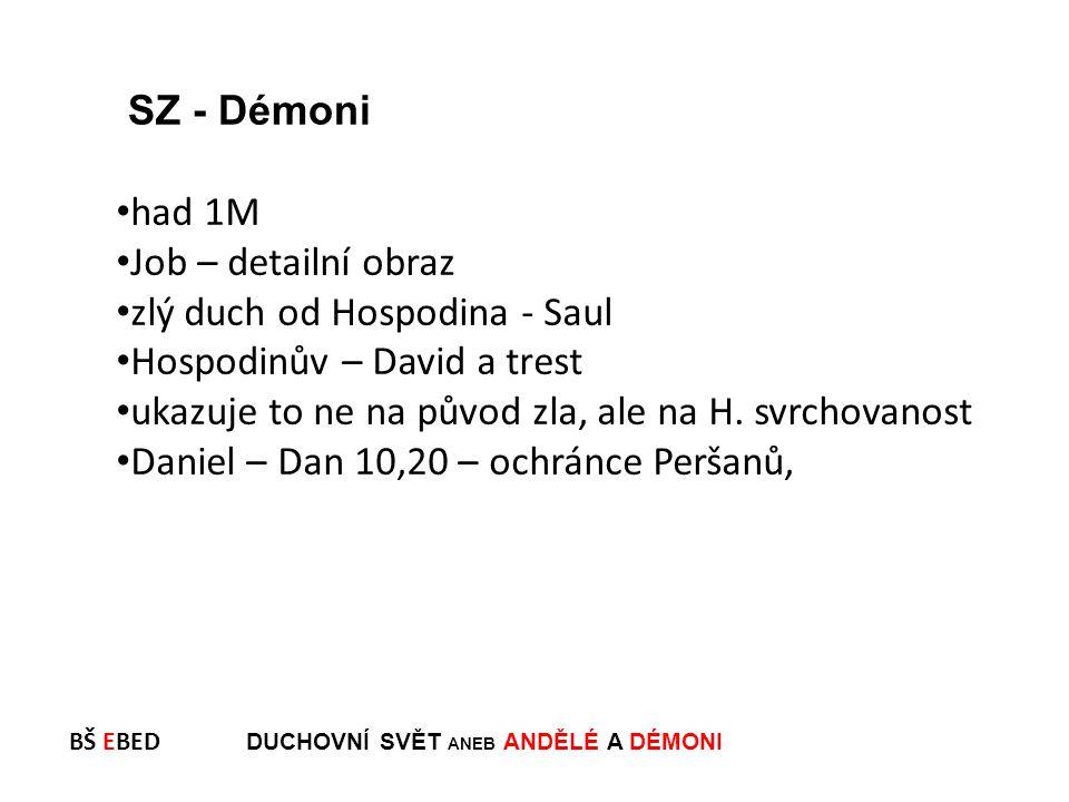 BŠ EBED DUCHOVNÍ SVĚT ANEB ANDĚLÉ A DÉMONI had 1M Job – detailní obraz zlý duch od Hospodina - Saul Hospodinův – David a trest ukazuje to ne na původ