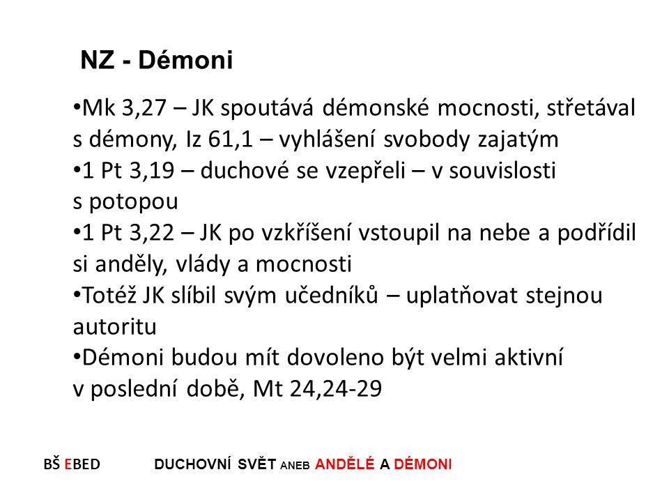 BŠ EBED DUCHOVNÍ SVĚT ANEB ANDĚLÉ A DÉMONI Mk 3,27 – JK spoutává démonské mocnosti, střetával s démony, Iz 61,1 – vyhlášení svobody zajatým 1 Pt 3,19