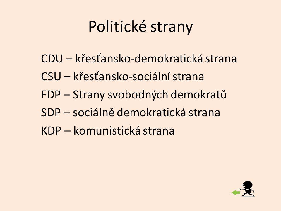 Politické strany CDU – křesťansko-demokratická strana CSU – křesťansko-sociální strana FDP – Strany svobodných demokratů SDP – sociálně demokratická strana KDP – komunistická strana