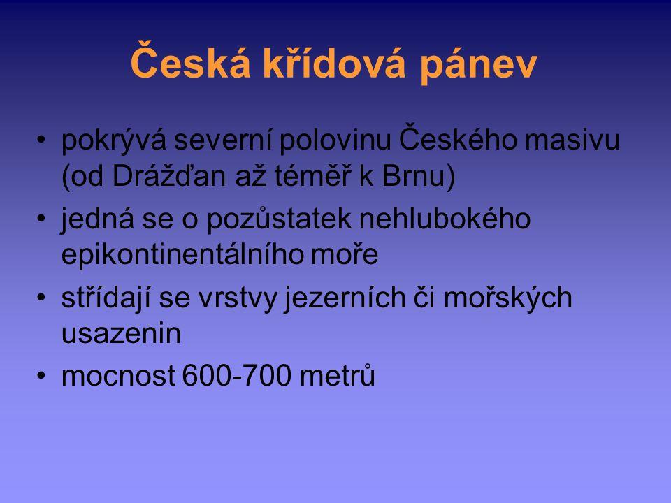 Česká křídová pánev pokrývá severní polovinu Českého masivu (od Drážďan až téměř k Brnu) jedná se o pozůstatek nehlubokého epikontinentálního moře stř