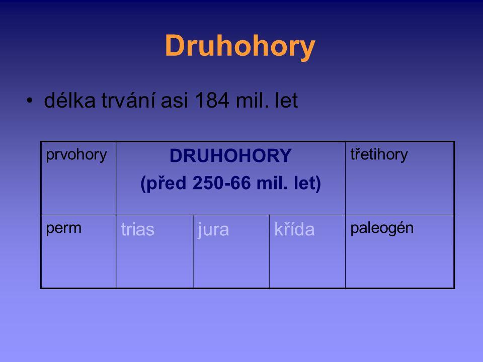 Druhohory délka trvání asi 184 mil. let prvohory DRUHOHORY (před 250-66 mil. let) třetihory perm triasjurakřída paleogén