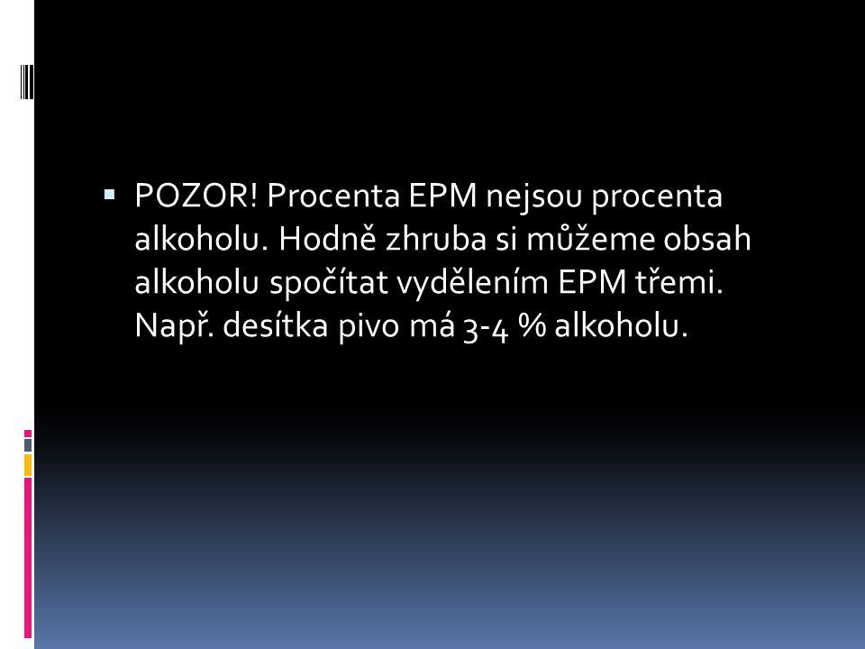  POZOR! Procenta EPM nejsou procenta alkoholu. Hodně zhruba si můžeme obsah alkoholu spočítat vydělením EPM třemi. Např. desítka pivo má 3-4 % alkoho