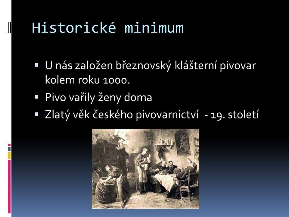 Historické minimum  U nás založen březnovský klášterní pivovar kolem roku 1000.  Pivo vařily ženy doma  Zlatý věk českého pivovarnictví - 19. stole
