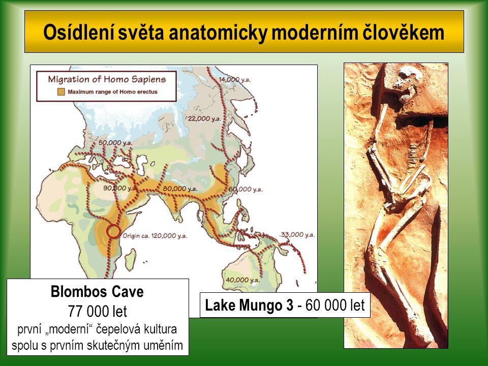 """Osídlení světa anatomicky moderním člověkem Lake Mungo 3 - 60 000 let Blombos Cave 77 000 let první """"moderní čepelová kultura spolu s prvním skutečným uměním"""