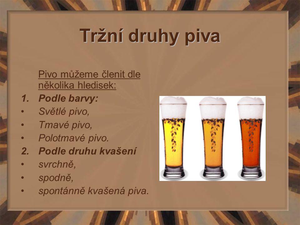 Tržní druhy piva 3.Dle druhu (stupňovitosti) a)Lehké pivo Pivo s množstvím extraktu a maltosy v mladině do 7%.