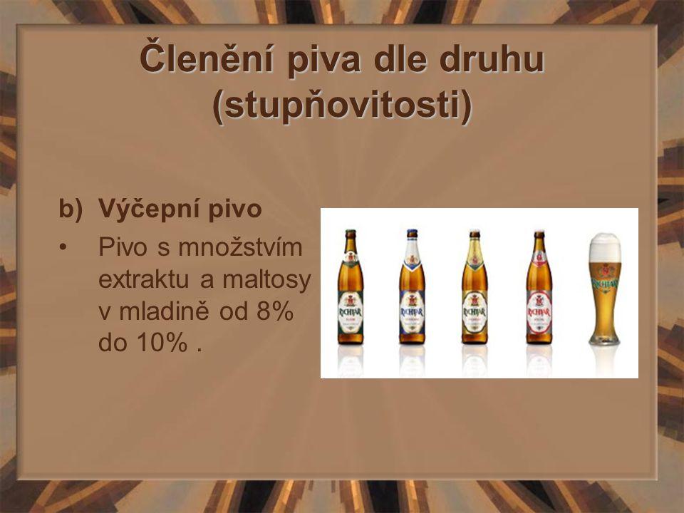 Členění piva dle druhu (stupňovitosti) b)Výčepní pivo Pivo s množstvím extraktu a maltosy v mladině od 8% do 10%.