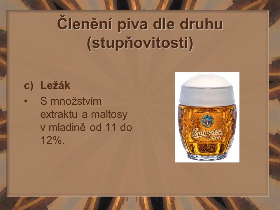 Členění piva dle druhu (stupňovitosti) c)Ležák S množstvím extraktu a maltosy v mladině od 11 do 12%.