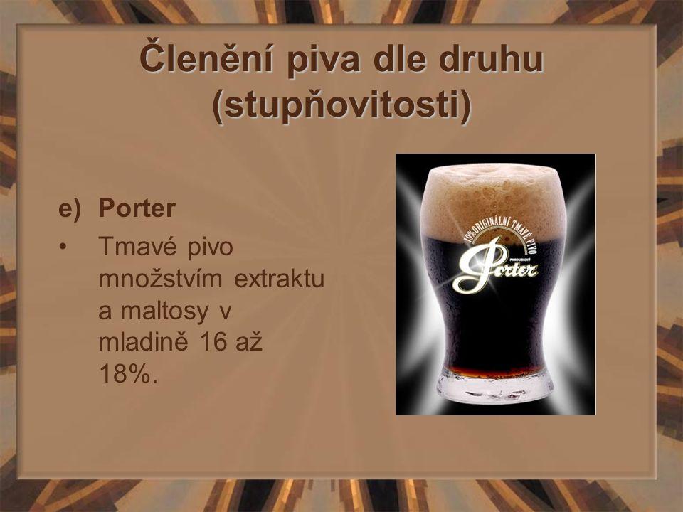 Členění piva dle druhu (stupňovitosti) e)Porter Tmavé pivo množstvím extraktu a maltosy v mladině 16 až 18%.