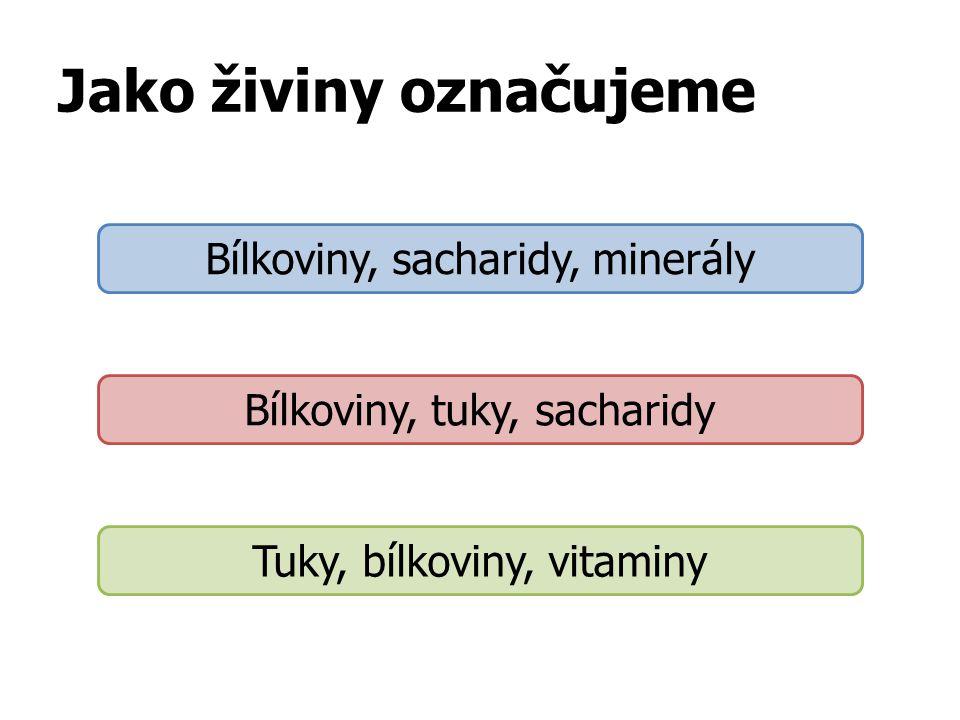 Jako živiny označujeme Bílkoviny, sacharidy, minerály Bílkoviny, tuky, sacharidy Tuky, bílkoviny, vitaminy