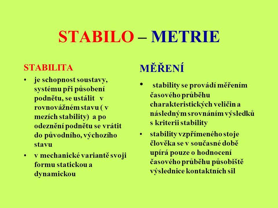 STABILO – METRIE STABILITA je schopnost soustavy, systému při působení podnětu, se ustálit v rovnovážném stavu ( v mezích stability) a po odeznění pod