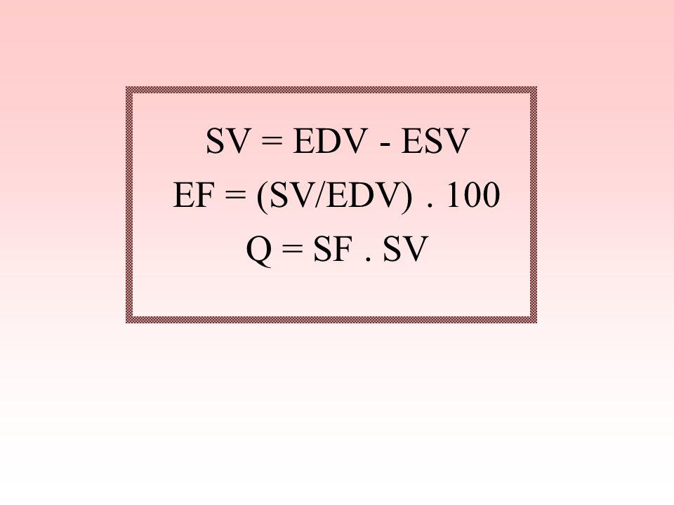 SV = EDV - ESV EF = (SV/EDV). 100 Q = SF. SV