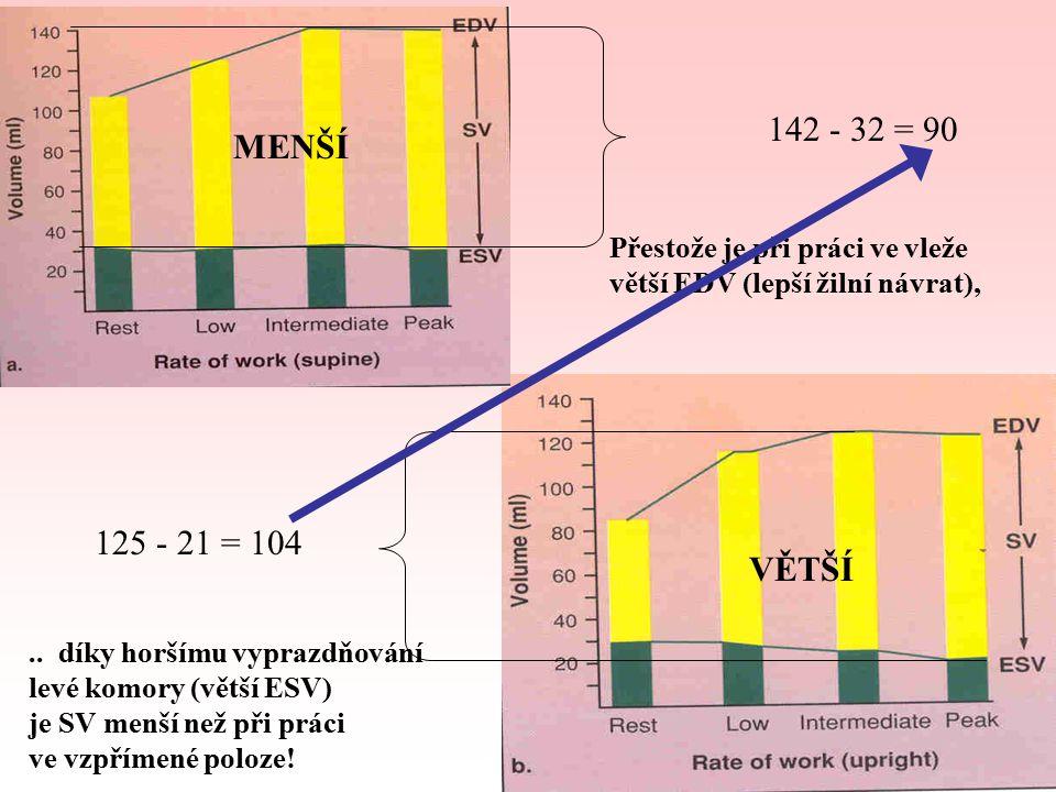 142 - 32 = 90 125 - 21 = 104 Přestože je při práci ve vleže větší EDV (lepší žilní návrat),..
