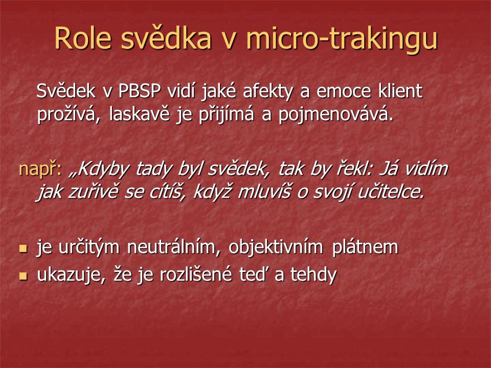Role svědka v micro-trakingu Svědek v PBSP vidí jaké afekty a emoce klient prožívá, laskavě je přijímá a pojmenovává.