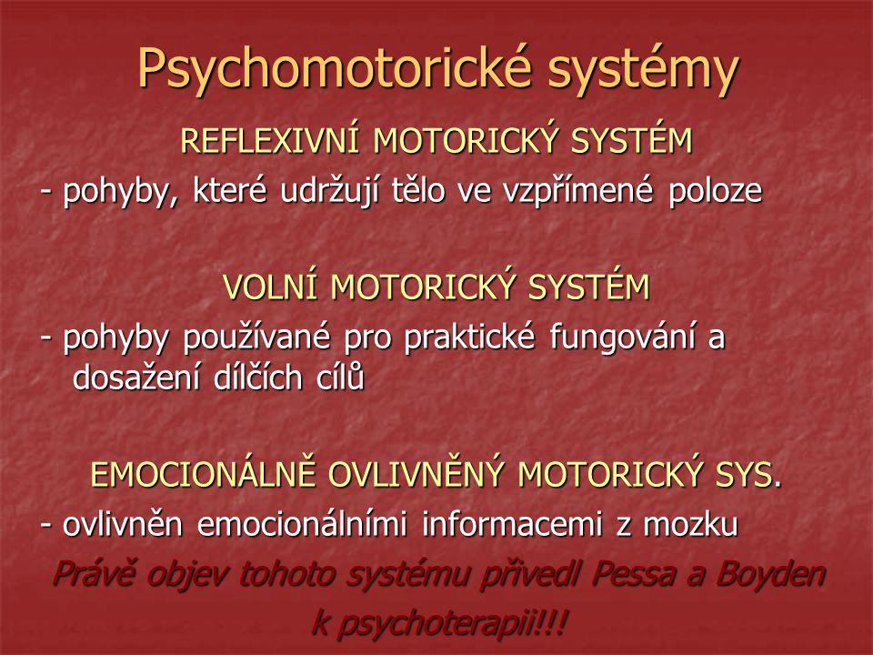 Psychomotorické systémy REFLEXIVNÍ MOTORICKÝ SYSTÉM - pohyby, které udržují tělo ve vzpřímené poloze VOLNÍ MOTORICKÝ SYSTÉM - pohyby používané pro praktické fungování a dosažení dílčích cílů EMOCIONÁLNĚ OVLIVNĚNÝ MOTORICKÝ SYS.