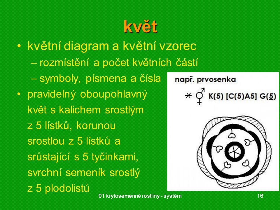 01 krytosemenné rostliny - systém1601 krytosemenné rostliny - systém16 květ květní diagram a květní vzorec –rozmístění a počet květních částí –symboly, písmena a čísla pravidelný oboupohlavný květ s kalichem srostlým z 5 lístků, korunou srostlou z 5 lístků a srůstající s 5 tyčinkami, svrchní semeník srostlý z 5 plodolistů