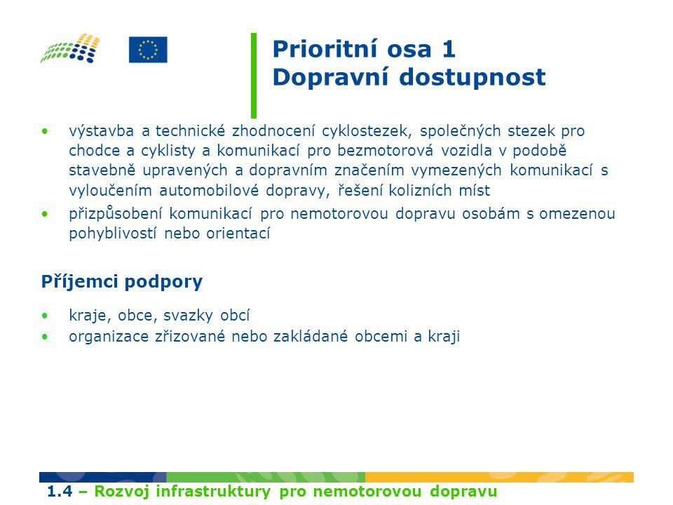 Prioritní osa 1 Dopravní dostupnost výstavba a technické zhodnocení cyklostezek, společných stezek pro chodce a cyklisty a komunikací pro bezmotorová