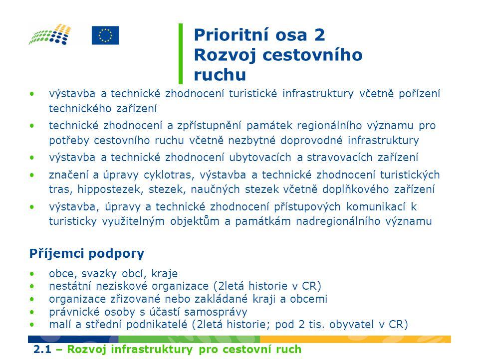 Prioritní osa 2 Rozvoj cestovního ruchu výstavba a technické zhodnocení turistické infrastruktury včetně pořízení technického zařízení technické zhodn