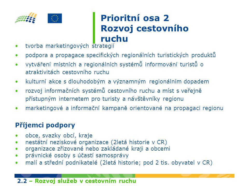 Prioritní osa 2 Rozvoj cestovního ruchu tvorba marketingových strategií podpora a propagace specifických regionálních turistických produktů vytváření