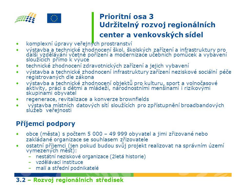 Prioritní osa 3 Udržitelný rozvoj regionálních center a venkovských sídel komplexní úpravy veřejných prostranství výstavba a technické zhodnocení škol