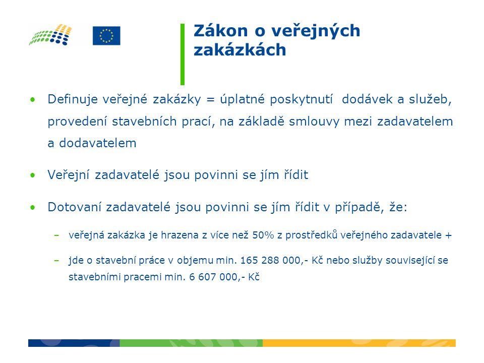 Zákon o veřejných zakázkách Definuje veřejné zakázky = úplatné poskytnutí dodávek a služeb, provedení stavebních prací, na základě smlouvy mezi zadava