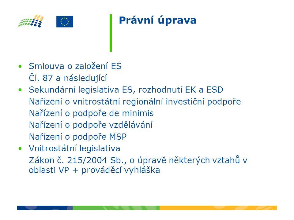 Právní úprava Smlouva o založení ES Čl. 87 a následující Sekundární legislativa ES, rozhodnutí EK a ESD Nařízení o vnitrostátní regionální investiční