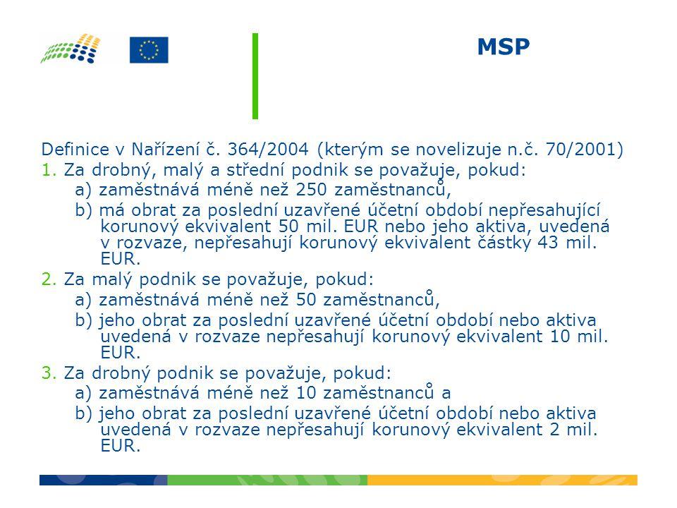 MSP Definice v Nařízení č. 364/2004 (kterým se novelizuje n.č. 70/2001) 1. Za drobný, malý a střední podnik se považuje, pokud: a) zaměstnává méně než