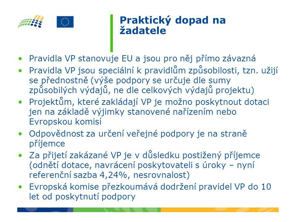 Praktický dopad na žadatele Pravidla VP stanovuje EU a jsou pro něj přímo závazná Pravidla VP jsou speciální k pravidlům způsobilosti, tzn. užijí se p