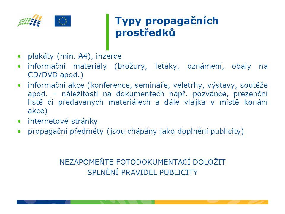 Typy propagačních prostředků plakáty (min.