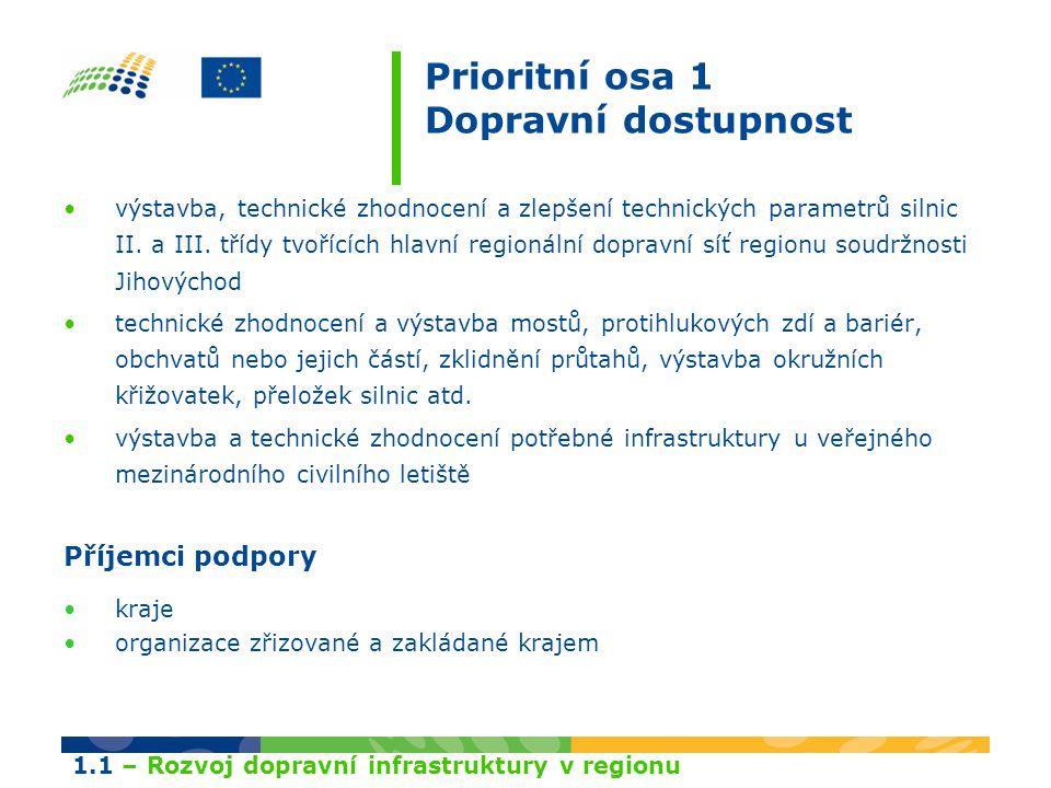 Prioritní osa 1 Dopravní dostupnost výstavba, technické zhodnocení a zlepšení technických parametrů silnic II. a III. třídy tvořících hlavní regionáln