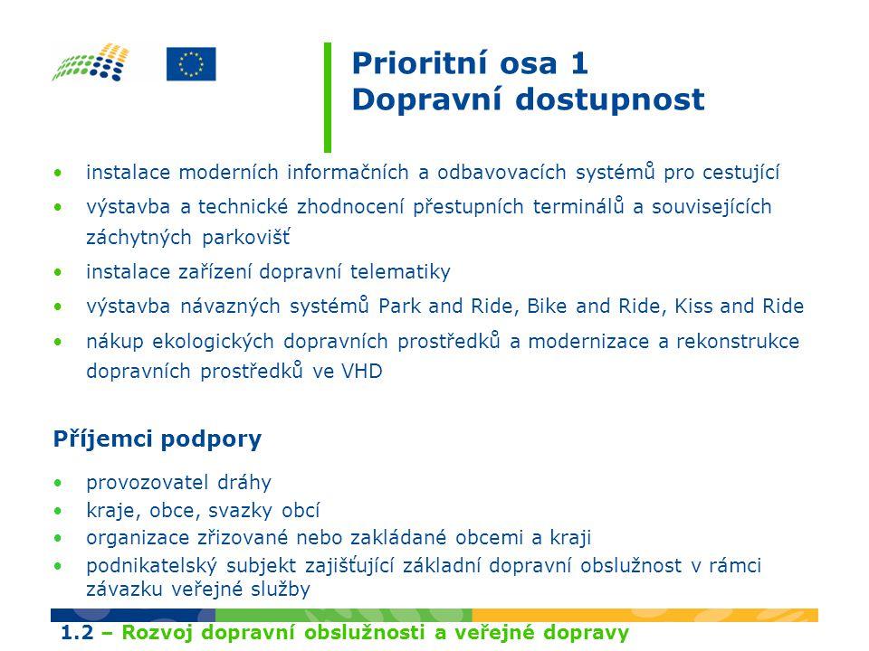 Prioritní osa 1 Dopravní dostupnost instalace moderních informačních a odbavovacích systémů pro cestující výstavba a technické zhodnocení přestupních