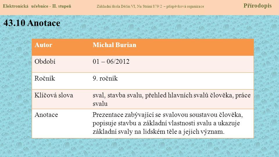 Elektronická učebnice - II. stupeň Základní škola Děčín VI, Na Stráni 879/2 – příspěvková organizace Přírodopis AutorMichal Burian Období01 – 06/2012