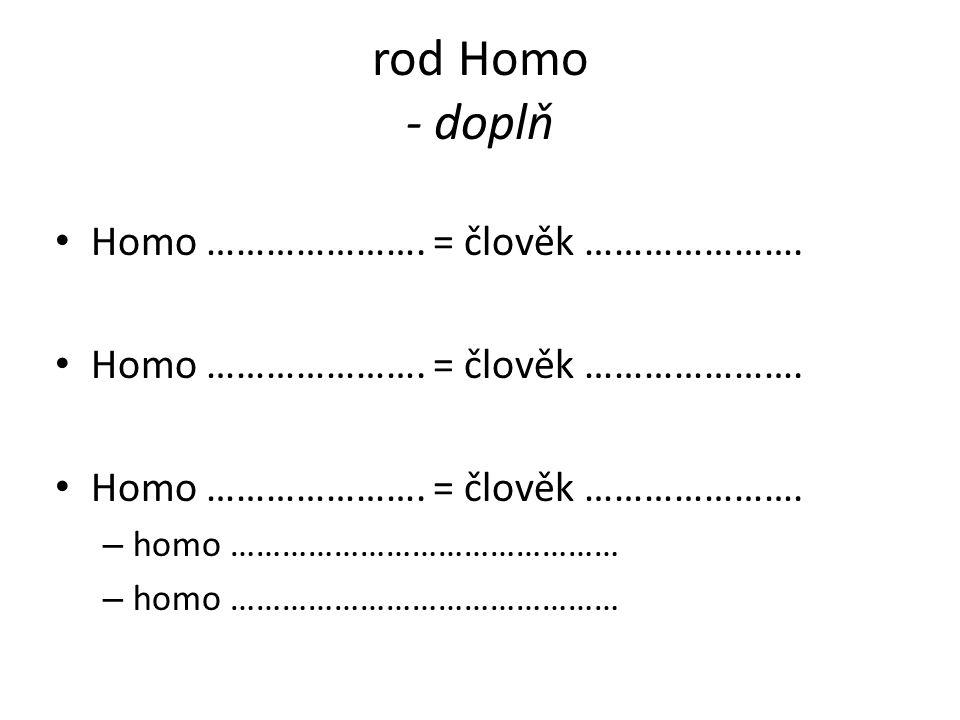 rod Homo - doplň Homo …………………. = člověk …………………. – homo ………………………………………