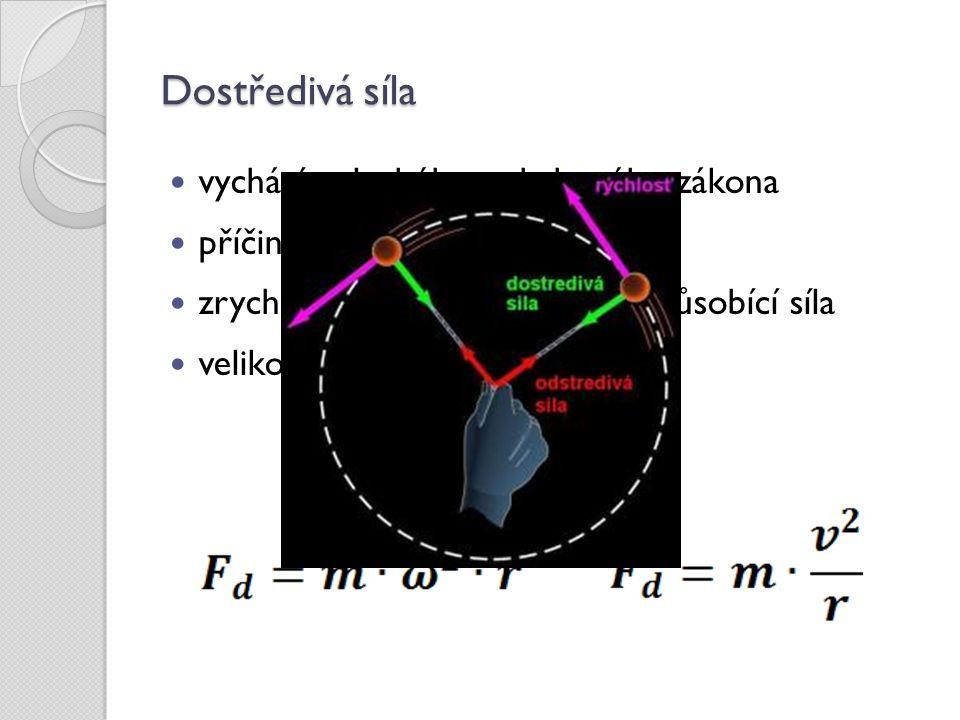 Dostředivá síla vychází z druhého pohybového zákona příčinou zrychlení je síla zrychlení má stejný směr jako působící síla velikost dostředivé síly