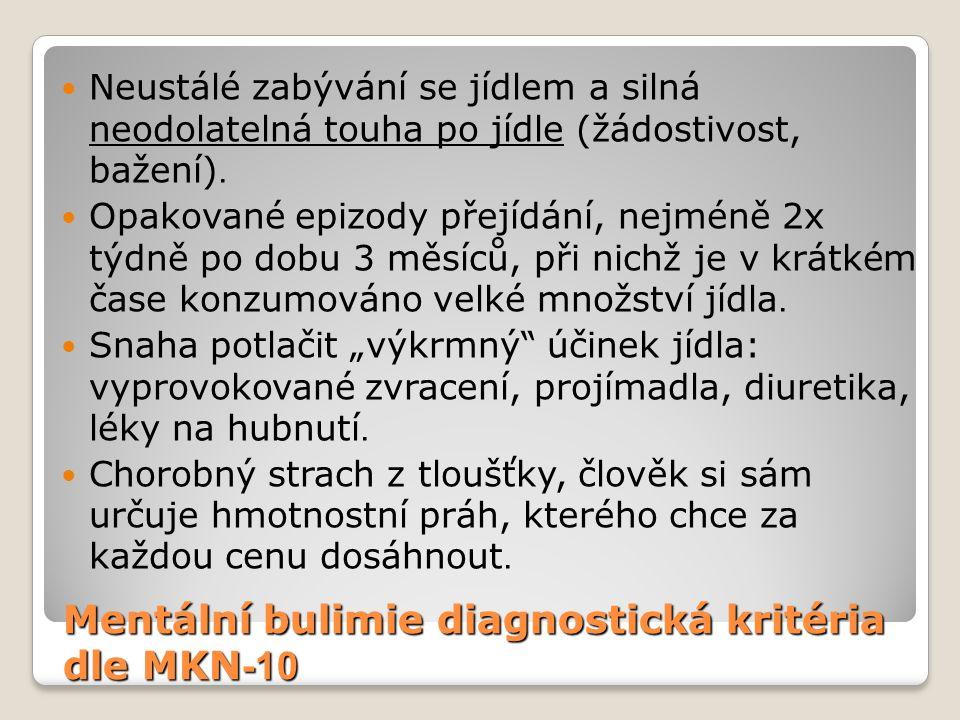 Mentální bulimie diagnostická kritéria dle MKN -10 Neustálé zabývání se jídlem a silná neodolatelná touha po jídle (žádostivost, bažení). Opakované ep