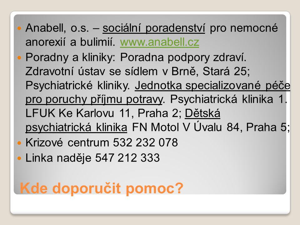 Kde doporučit pomoc? Anabell, o.s. – sociální poradenství pro nemocné anorexií a bulimií. www.anabell.czwww.anabell.cz Poradny a kliniky: Poradna podp
