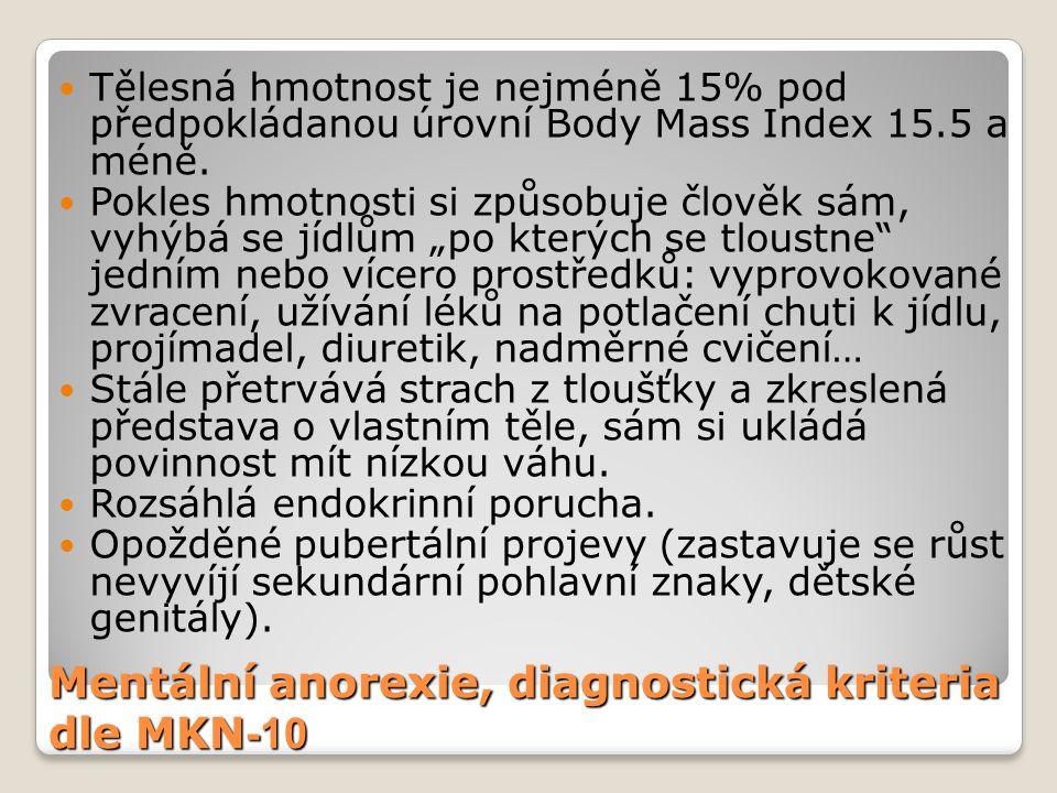 Mentální anorexie, diagnostická kriteria dle MKN -10 Tělesná hmotnost je nejméně 15% pod předpokládanou úrovní Body Mass Index 15.5 a méně. Pokles hmo