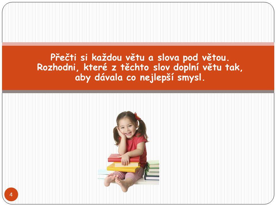 Přečti si každou větu a slova pod větou. Rozhodni, které z těchto slov doplní větu tak, aby dávala co nejlepší smysl. 4