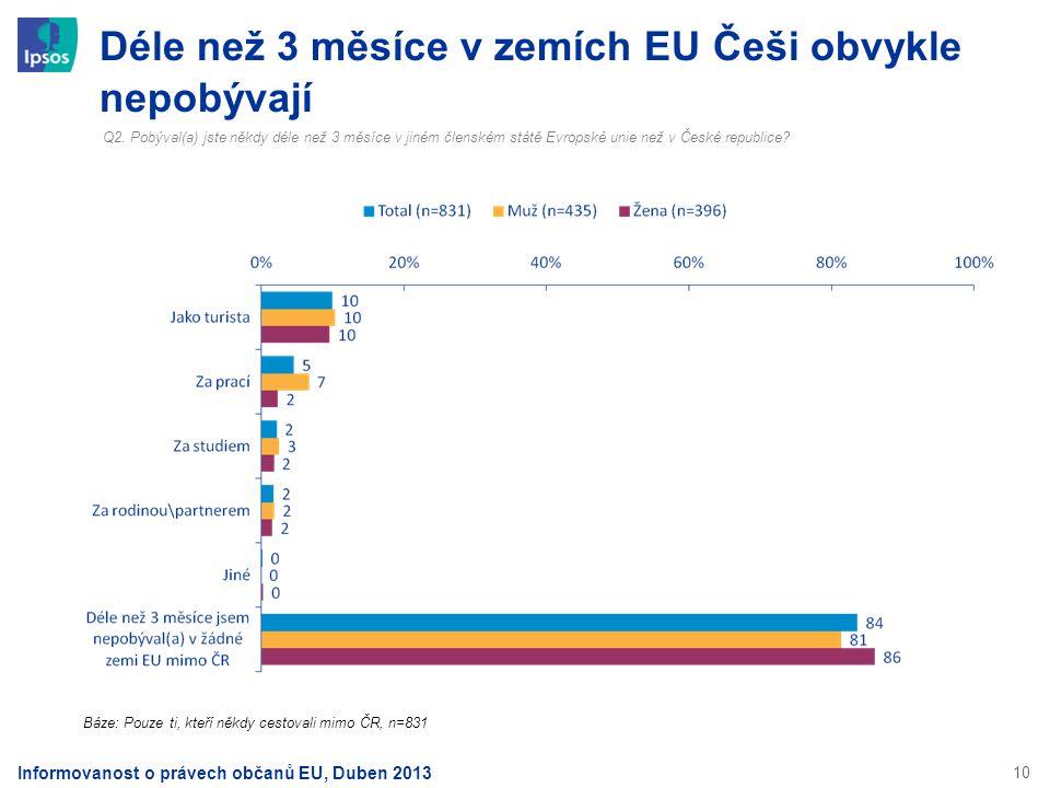 10 Déle než 3 měsíce v zemích EU Češi obvykle nepobývají Q2. Pobýval(a) jste někdy déle než 3 měsíce v jiném členském státě Evropské unie než v České